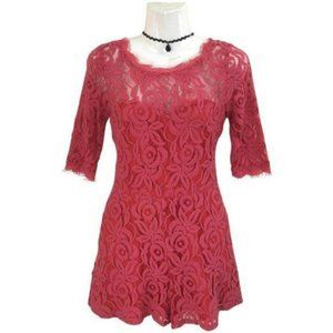 Love Culture Pink Lace Scallop Sleeve Romper Small